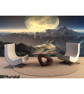 Alien City Ruins Moonlight Wall Mural Wall art Wall decor