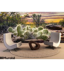 Cactus Sunrise Wall Mural Wall Tapestry tapestries