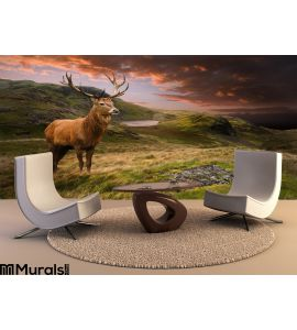 Red Deer Stag Dramatic Mountain Landscape Wall Mural Wall Tapestry tapestries