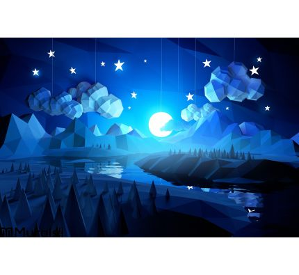 Low Poly Midnight Landscape Wall Mural Wall Tapestry tapestries