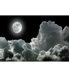 Moon Black Clouds Wall Mural