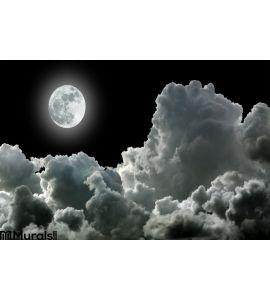 Moon Black Clouds Wall Mural