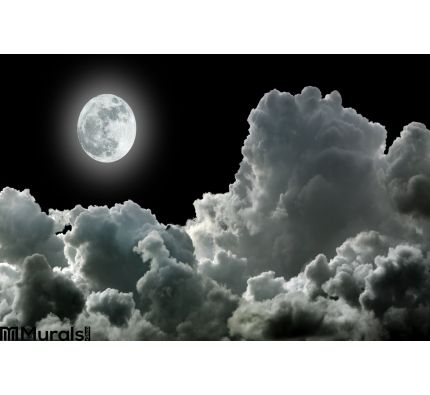 Moon Black Clouds Wall Mural Wall Tapestry tapestries