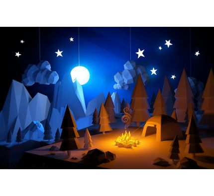 Low Poly Camping Adventure Wall Mural Wall Tapestry tapestries