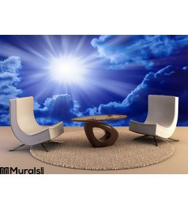 Blue Sun Sky Wall Mural Wall Tapestry tapestries