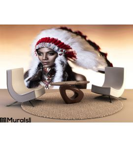 American Indian Woman Wall Mural Wall Tapestry tapestries