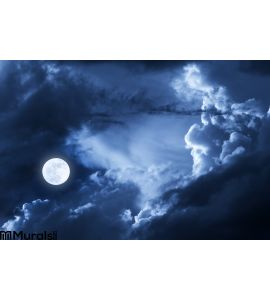 Dramatic Nighttime Clouds Sky Beautiful F Wall Mural