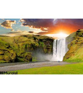 Iceland Waterfall Skogafoss Wall Mural