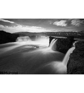 Godafoss Waterfalls Iceland Bw Wall Mural