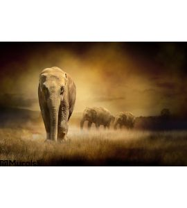 Elephants Sunset Wall Mural Wall art Wall decor