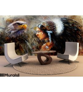 Beautiful Mystic Painting Young Indian Woman Eagle Feather Headdress Profile Portrait Abstract Background Wall Mural Wall art Wa