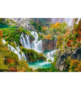 Detailed View Beautiful Waterfalls Sunshine Plitvice National Park Croatia Wall Mural
