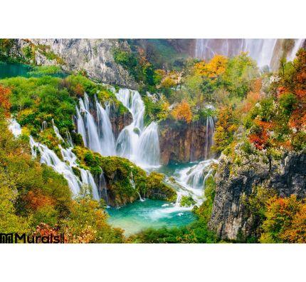 Detailed View Beautiful Waterfalls Sunshine Plitvice National Park Croatia Wall Mural Wall art Wall decor