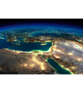Night Earth. Africa and Middle East Wall Mural
