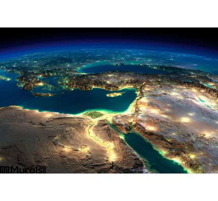 Night Earth. Africa and Middle East Wall Mural Wall art Wall decor