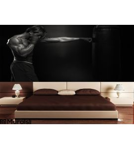 Mma Fighter Practicing Boxing Bag Wall Mural Wall art Wall decor