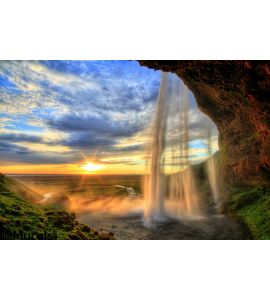 Seljalandfoss Waterfall Sunset Hdr Iceland Wall Mural