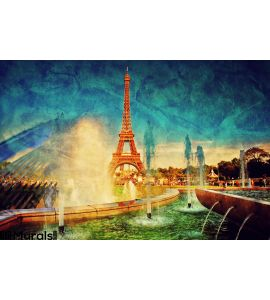 Eiffel Tower Fountain Paris France Vintage Wall Mural Wall Tapestry tapestries