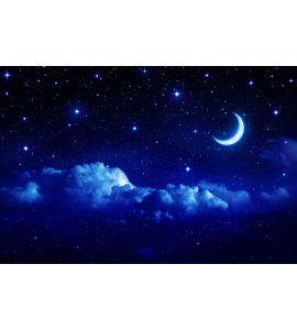 Starry Sky Half Moon Scenic Cloudscape Wall Mural Wall art Wall decor
