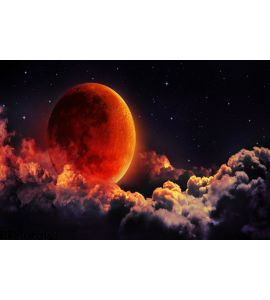 Moon Eclipse Planet Red Blood Wall Mural Wall art Wall decor