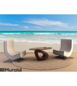 Sea beach blue sky sand sun daylight relaxation Wall Mural Wall art Wall decor