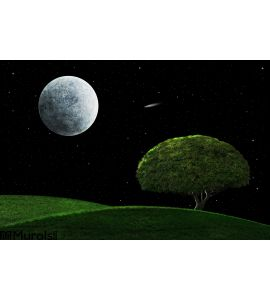 Moonlight Night Solitary Tree Wall Mural Wall art Wall decor