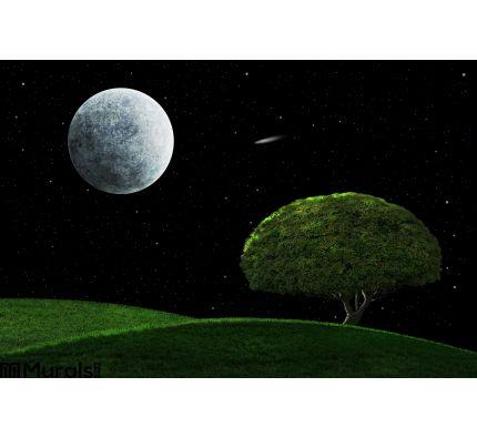 Moonlight Night Solitary Tree Wall Mural Wall art Wall decor