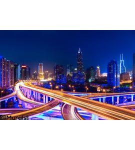 Modern City Skyline Interchange Overpass Night Wall Mural