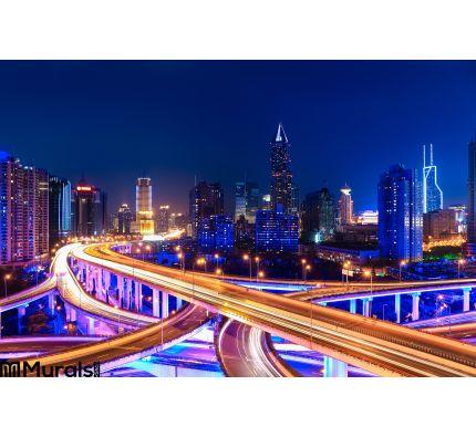 Modern City Skyline Interchange Overpass Night Wall Mural Wall art Wall decor
