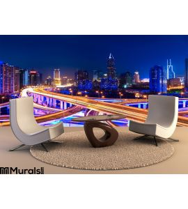 Modern City Skyline Interchange Overpass Night Wall Mural Wall art Wall decor
