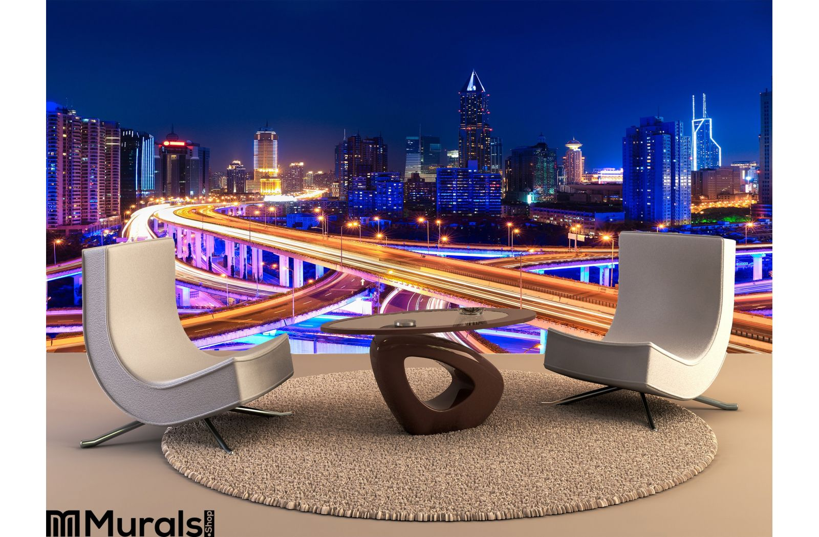 Modern City Skyline Interchange Overp Night Wall Mural Tapestry Tapestries