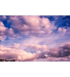 White Pink Puffy Clouds Blue Sky Wall Mural