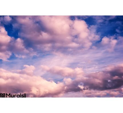 White Pink Puffy Clouds Blue Sky Wall Mural Wall art Wall decor
