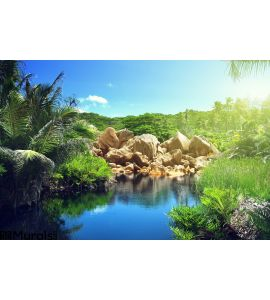 Lake Jungle Seychelles Wall Mural Wall art Wall decor