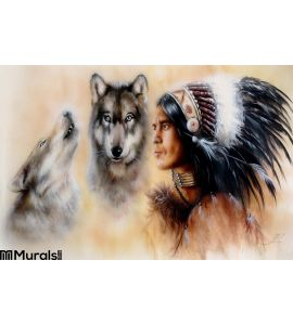 Portrait Young Courrageous Indian Warrior Pair Wolves Wall Mural Wall art Wall decor