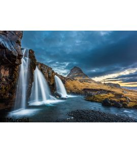 Waterfalls Kirkjufell Sunrise Iceland Wall Mural