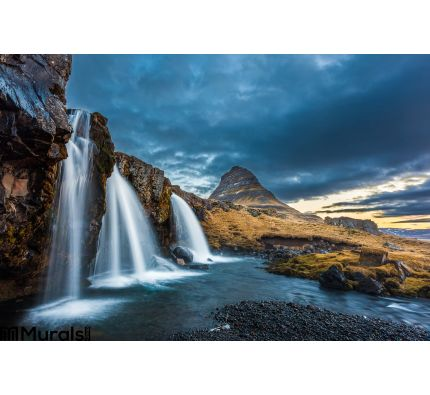 Waterfalls Kirkjufell Sunrise Iceland Wall Mural Wall art Wall decor