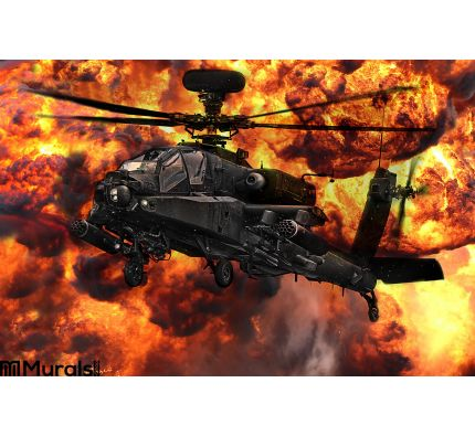 Apache Gunship Helicopter Explosion Wall Mural Wall art Wall decor