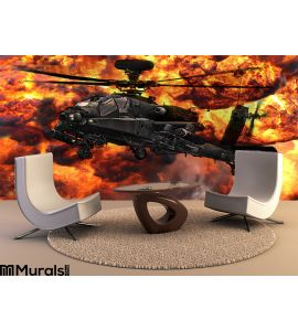 Apache Gunship Helicopter Explosion Wall Mural Wall art Wall decor