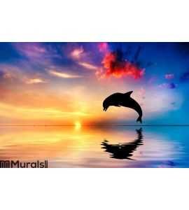 Beautiful ocean and sunset, dolphin jumping Wall Mural