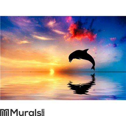Beautiful ocean and sunset, dolphin jumping Wall Mural Wall art Wall decor