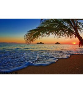 Pacific Sunrise Lanikai Beach Hawaii Wall Mural