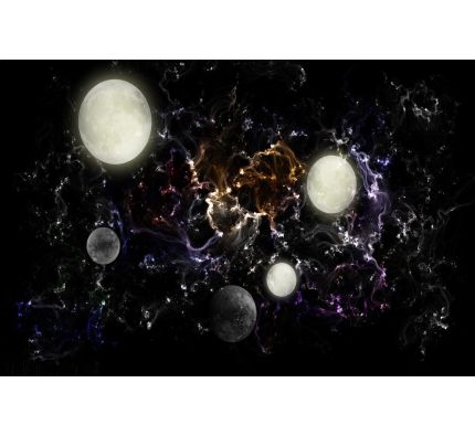 Universe Distant Moons Wall Mural Wall art Wall decor