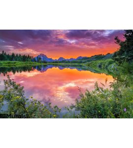 Sunset Snake River Wall Mural
