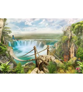 Bridge Over Waterfall Wall Mural