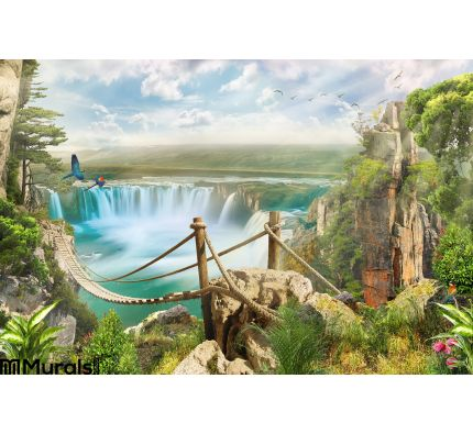 Bridge Over Waterfall Wall Mural Wall art Wall decor
