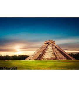 El Castillo Pyramid Chichen Itza Yucatan Mexico Wall Mural Wall art Wall decor