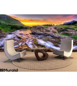 Swiftcurrent Creek Dawn Wall Mural Wall art Wall decor