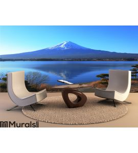 Lake side view of Mountain Wall Mural Wall art Wall decor