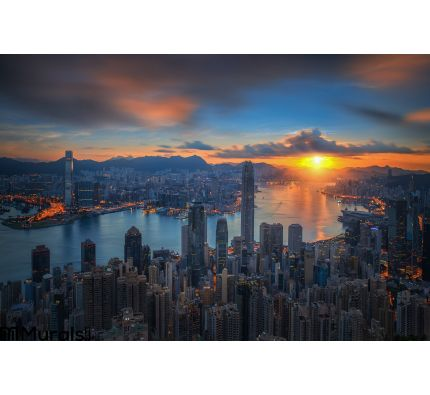 Sunrise Over Victoria Harbor As Viewed Atop Victoria Peak Wall Mural Wall art Wall decor